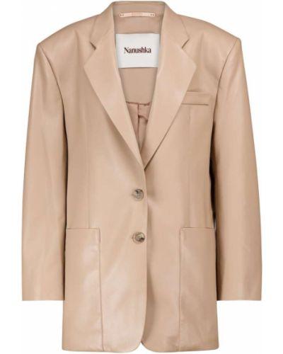 Бежевый кожаный пиджак Nanushka