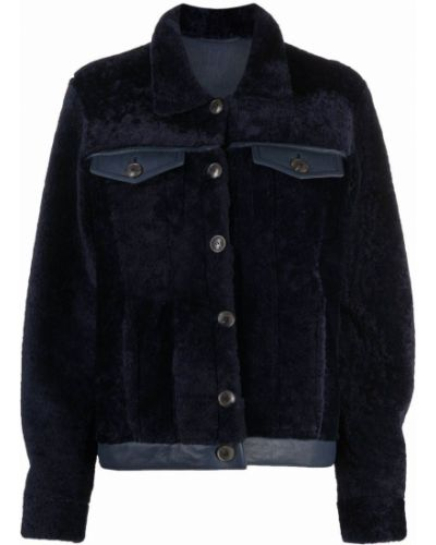 Синяя кожаная куртка Simonetta Ravizza