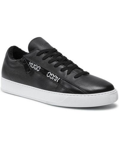Czarne sneakersy koronkowe sznurowane Hugo