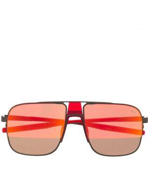 Прямые солнцезащитные очки металлические хаки Puma