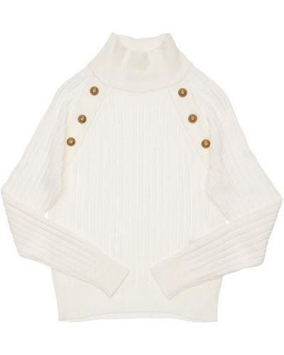 Biały sweter wełniany w paski Balmain