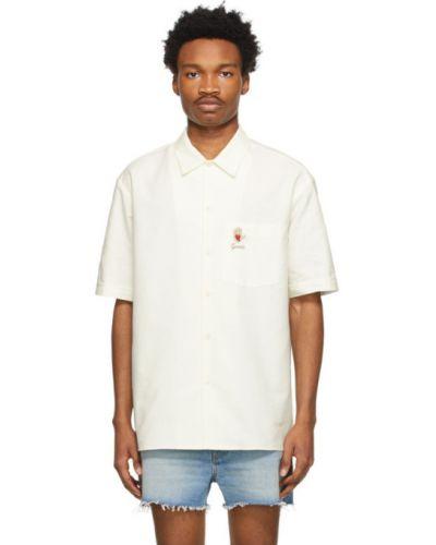 Koszula oxford krótki rękaw bawełniana z haftem Gucci