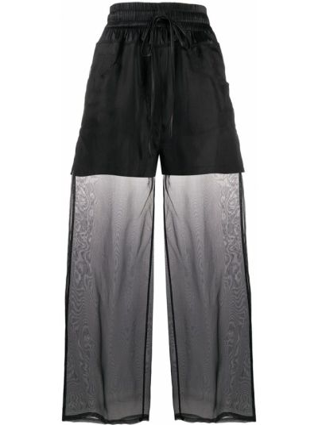 Шелковые черные расклешенные брюки с поясом Andrea Ya'aqov