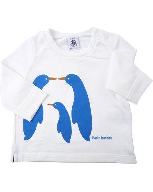 Niebieski t-shirt z długimi rękawami bawełniany Petit Bateau