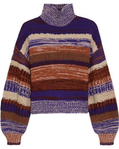Fioletowy sweter wełniany w paski Ulla Johnson