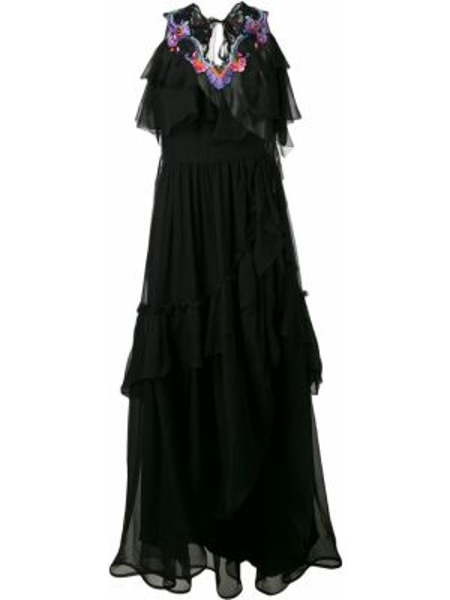 Платье с вышивкой каскадное Alberta Ferretti