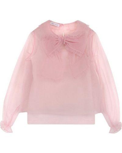 Блузка с длинным рукавом розовая из органзы I Pinco Pallino