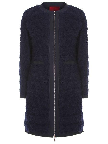 Синее приталенное шерстяное пальто на молнии Moncler Gamme Rouge