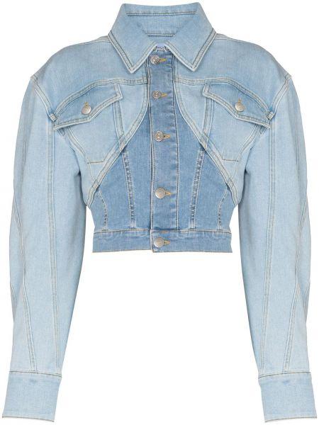 Синяя укороченная куртка Mugler