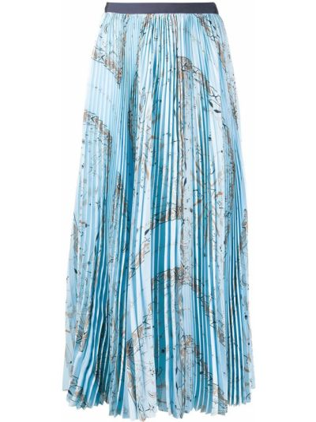 Niebieska spódnica midi z wysokim stanem z printem Sacai