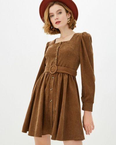 Прямое коричневое платье Trendyangel