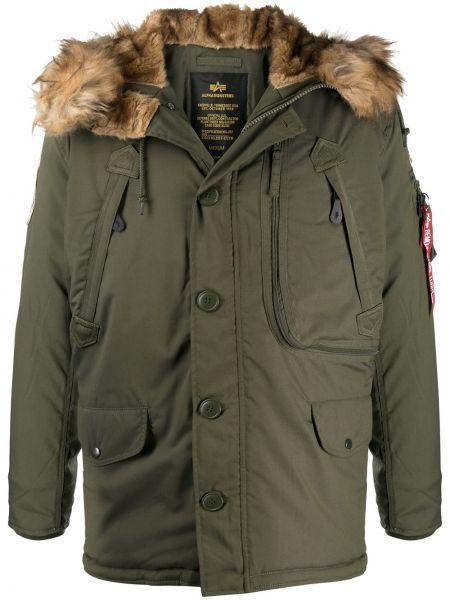Зеленая куртка Polar из искусственного меха на молнии Alpha Industries