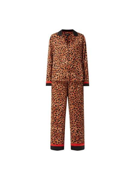 Beżowa spodni piżama z długimi rękawami w paski Dkny