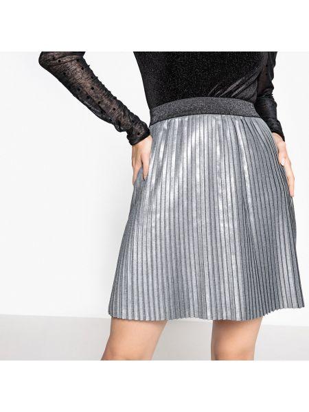 Плиссированная серебряная юбка мини NÜmph