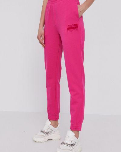Różowe spodnie bawełniane z printem Hugo