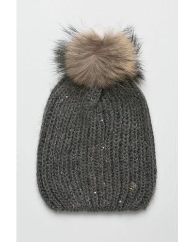 Зимняя шапка с помпоном серая Liu Jo