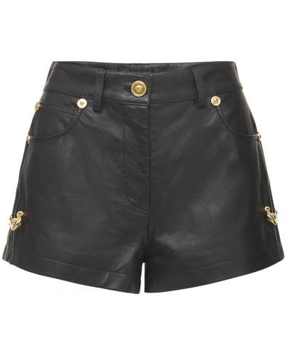 Черные кожаные шорты с карманами Versace