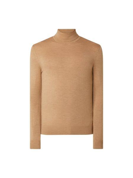 Beżowy wełniany sweter z kołnierzem Tiger Of Sweden