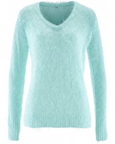 Пушистый свитер мятный с вырезом Bonprix