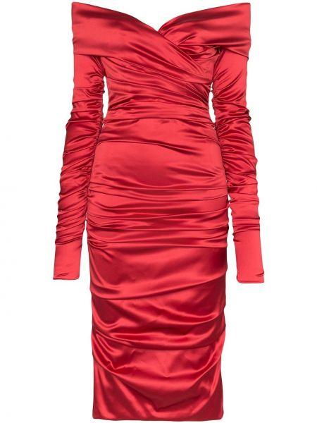 Красное шелковое платье миди на молнии со спущенными плечами Dolce & Gabbana