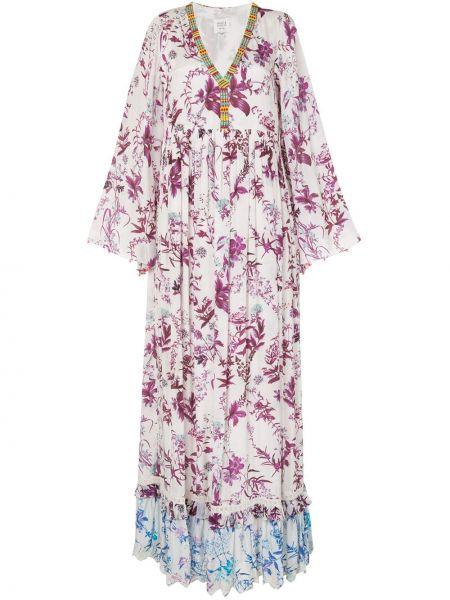 Фиолетовое платье макси с бисером с V-образным вырезом на молнии Hemant And Nandita