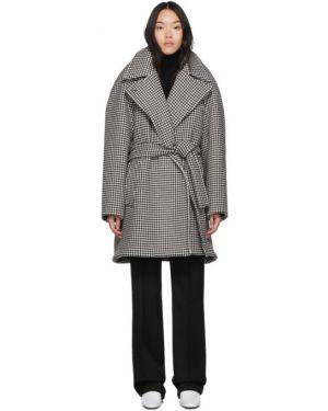 Длинное пальто без воротника с запахом Balenciaga