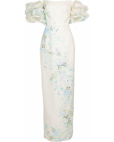 Biała sukienka wieczorowa w kwiaty elegancka Monique Lhuillier
