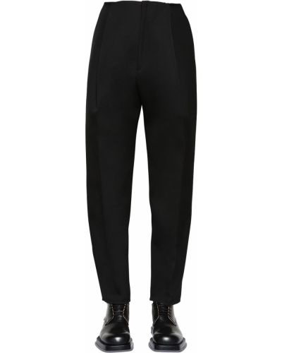 Pofałdowany wełniany czarny spodnie z kieszeniami Bottega Veneta