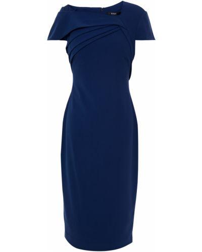 Плиссированное платье на крючках из крепа Badgley Mischka
