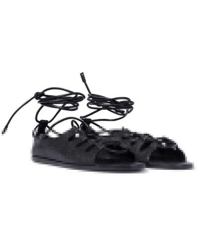 Черные кожаные сандалии на шнуровке The Row