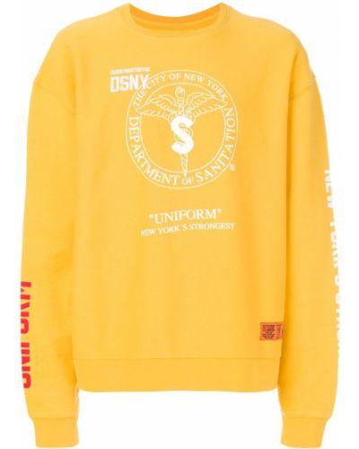 Żółta bluza dresowa bawełniana z printem Heron Preston