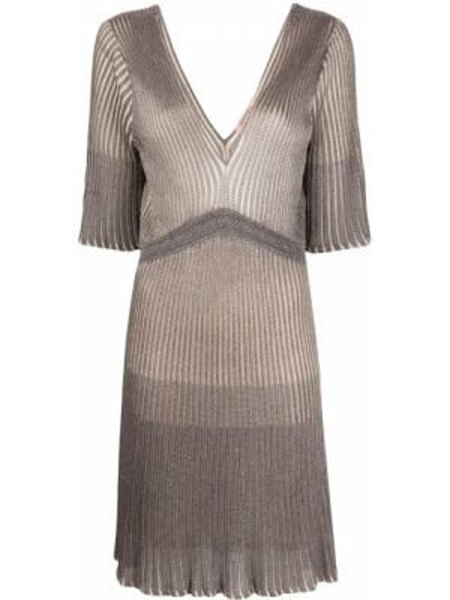 Платье мини серое с декольте Twin-set