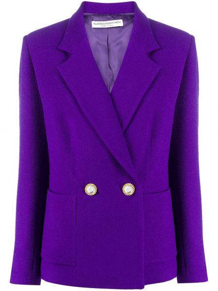 Вязаный шерстяной удлиненный пиджак двубортный Alessandra Rich