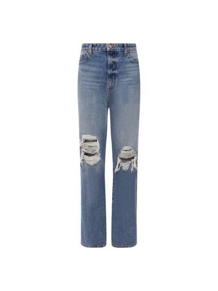 Хлопковые синие повседневные джинсы Khaite