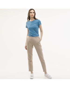 Укороченные брюки льняные бежевый Lacoste