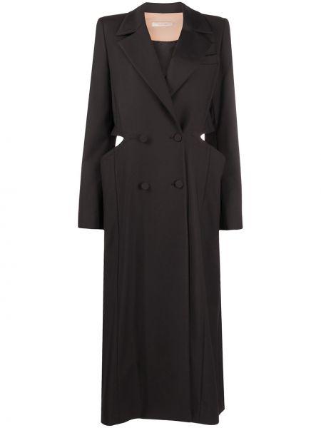 Черное длинное пальто с капюшоном двубортное Ssheena