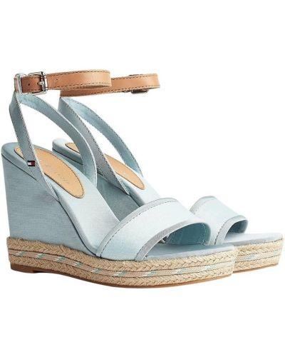 Niebieskie sandały skorzane na koturnie Tommy Hilfiger
