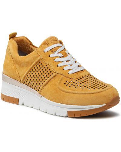 Sneakersy na koturnie skorzane - żółte Tamaris