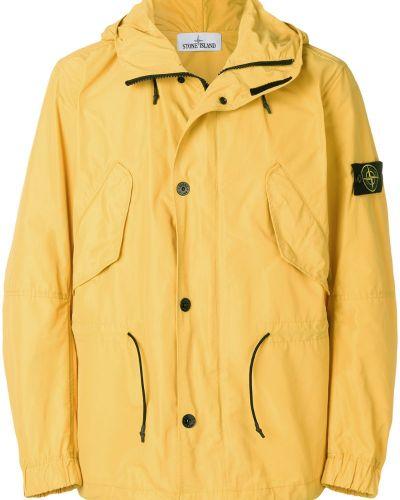 Длинная куртка с капюшоном милитари на пуговицах Stone Island