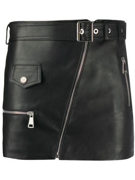 Skórzany prosto czarny wyposażone spódnica mini Manokhi
