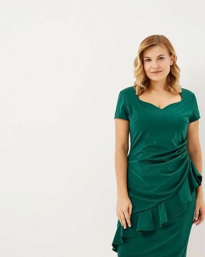 Повседневное платье осеннее зеленый Goddiva Size Plus