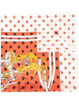 Красный шелковый платок винтажный Hermes