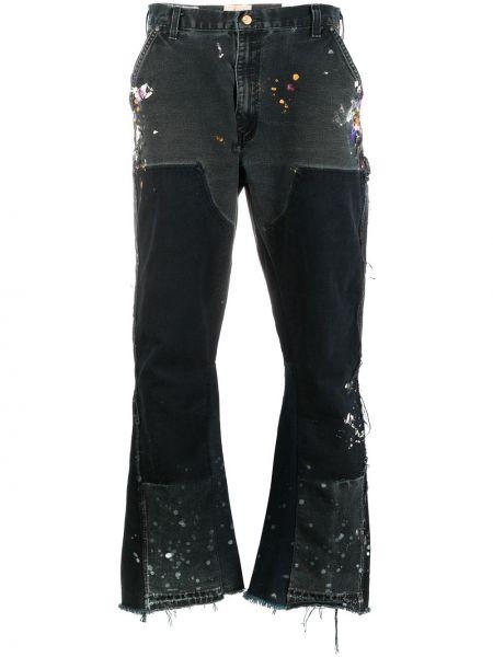 Czarne jeansy z printem Gallery Dept.