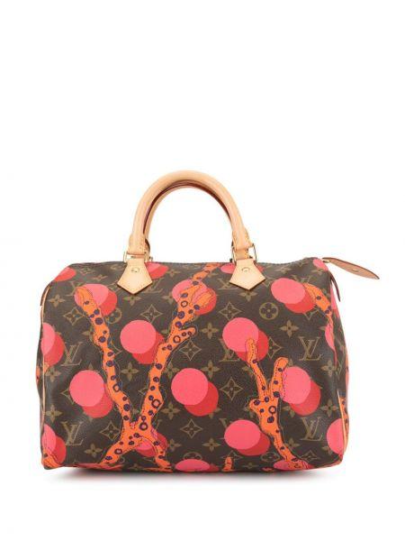 Кожаная сумка круглая на молнии с карманами винтажная Louis Vuitton