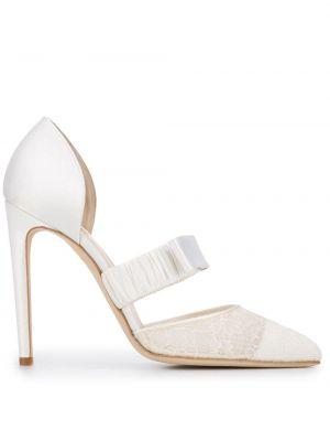 Белые ажурные туфли-лодочки из вискозы на каблуке Chloe Gosselin