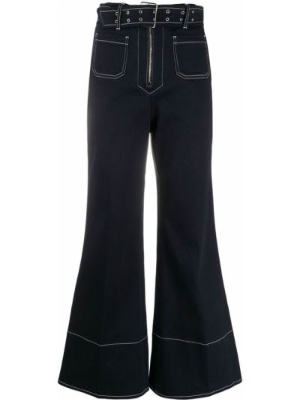 Синие свободные укороченные джинсы свободного кроя из вискозы Miu Miu