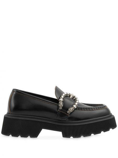 Czarny loafers z klamrą z prawdziwej skóry plac Gucci