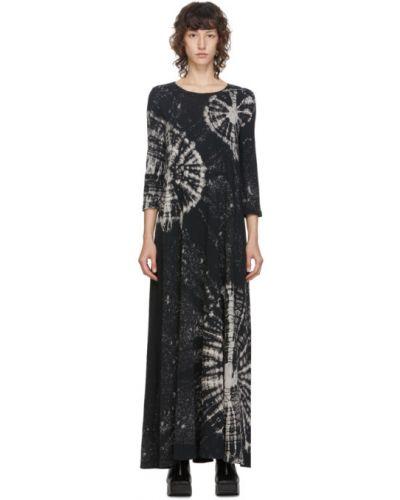 Черное платье макси с воротником с рукавом 3/4 с карманами Raquel Allegra