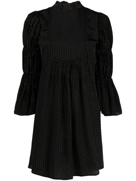 Czarna sukienka w grochy z wiskozy Bytimo