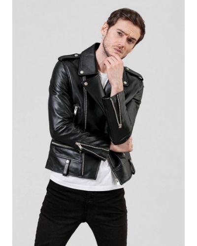 Кожаная куртка - черная Angelo Bonetti